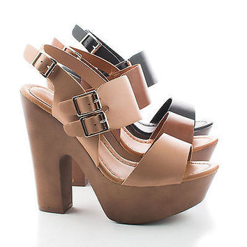 Shop Brown Chunky Sandals on Wanelo