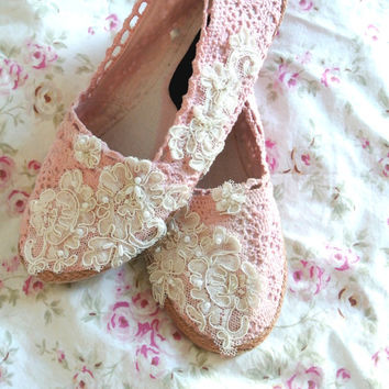 Espadrille, women's lace embellished shoes, spring floral romantic, shabby blush stained, french cottage chic, 7.5