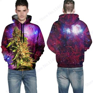 Purple Red Space Galaxy Mens Hooded Sweater Green Botany Sweatshirts With Pockets Autumn Long Sleeves Skateboarding Hoodies Coat