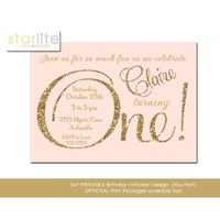 Blush Pink First Birthday Invitation, 1st ONE, pink gold glitter, sparkly, glam unique Printable Design or Printed Option