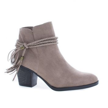 Avenge11M Taupe By Bamboo, Almond Toe Tassel Chunky High Heel Ankle Boots