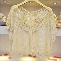 Hot! New Women Fashion Sweet Cute Lace Flower Batwing Loose Blouse Shirt Top
