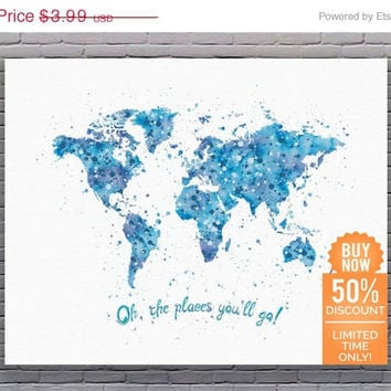 Oh The Places You'll Go World Map Travel Quote Nursery Art Boy Kids Poster Cyan Watercolor Printable Nursery Decor Instant Download