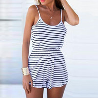 Striped Spaghetti Strap Backless Romper