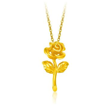 Disney Beauty and The Beast Women Stylish Gold-plated Necklace 3D Hard Rose Gold Pendant Jewelry Rose Gold Birthday Gift Toy