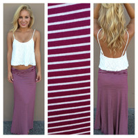 Burgundy & White Stripe Roll Down Maxi Skirt