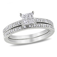 1/3 CT. T.W. Princess-Cut Quad Diamond Vintage-Style Bridal Set in 10K White Gold - View All Rings - Zales
