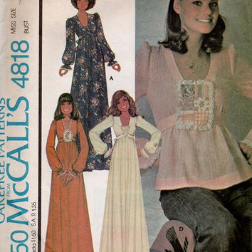 1970s Boho McCall's Sewing Pattern Misses Dress Top Woman's Tunic Shirt Size 12 Bust 34 Long Sleeves Full Length