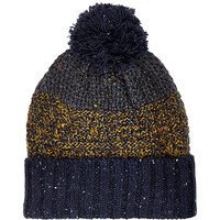 River Island MensNavy blue color block beanie hat