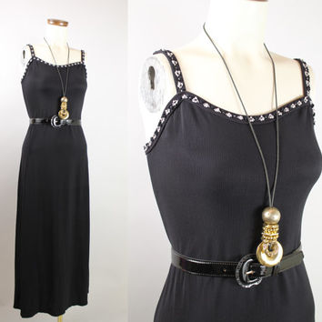 Vintage - 90s - Black & White Daisy Flower Trim - Ribbed - Spaghetti Strap - Fitted - Long - Maxi Dress - Grunge Revival