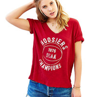 Hoosiers Champions Graphic Print Red T-Shirt