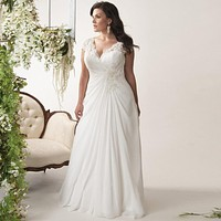 Elegant Plus Size Wedding Dresses V-neck Cap Sleeves Gown