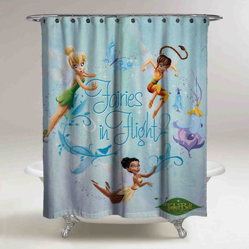 Disney Tinker Bell Princess Fairies In Flight Custom Shower Curtain High Quality