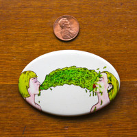 "3"" x 2"" Oval Barf Glow in The Dark Pinback Button Limited Edition"