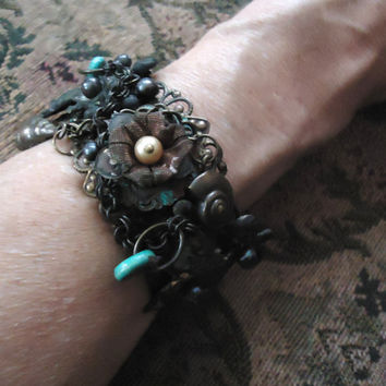 Unique Assemblage Bracelet, Fleur de Lys, Goth Cuff Pirate Treasure Bracelet, Upcycled Jewelry Cuff, Boho Bohemian, Turquoise, Sea Inspired