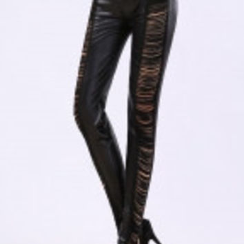 Black Tassel Shreds Leatherette Leggings