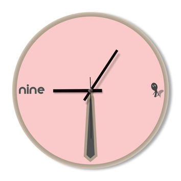 Wall Clock Funny Tie Clock home decoration wall art clock bedroom living room office clock light pink