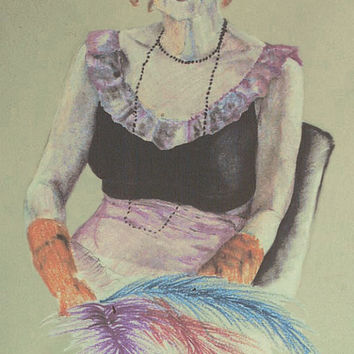 """Custom Portrait PRINT, """"Rita"""", pencil pastel on Gray Charcoal Hand Signed by Artist JP Denyer Full Color"""