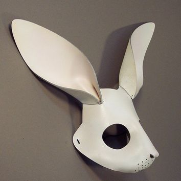 White Leather Rabbit Mask