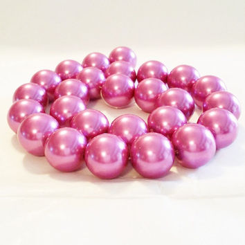 Fuchsia 16mm Round Glass Pearl Bead | 16mm Beads | Chunky Beads | 25 Pearls | Pink Pearls | Large Pearls | Loose Pearls