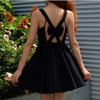Take a Bow Dress- Black Dresses- $80