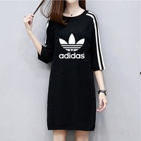"""Adidas"" Women Loose Casual Letter Logo Print Stripe Middle Sleeve Medium Long Section T-shirt Mini Dress"