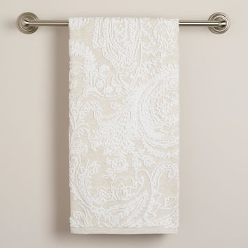 Alexandra Linen Flower Bath Towel - World Market