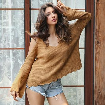 Cold Shoulder Cut Out Knitted Sweater V Neck Strap Flare Sleeve Jumper Loose Pull Pullover
