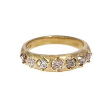 Champagne Old Mine Cut Diamond Bead Ring