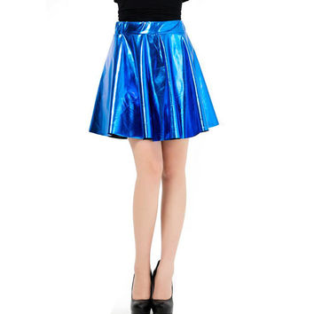 Sexy Cute Women Autumn Winter Faux PU Leather Pleated Mini Skirts Casual High Waist Skater Skirt Black Red Blue American Apparel