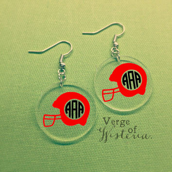 Personalized Football Helmet Monogram Earrings- ANY COLOR Monogrammed Customized Team Earrings Football Season Southern SEC