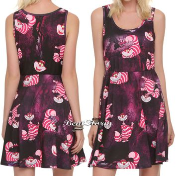 Licensed cool Cheshire Cat Fit & Flare Skater Dress Disney Alice in Wonderland  JUNIORS S-XL