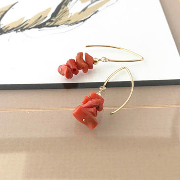 Coral Earrings, Natural Coral Earrings, Natural Mediterranean Coral Earrings, Gold Natural Mediterranean Coral Earrings, Gold Coral Earrings
