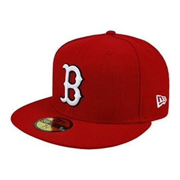 New Era 59fifty Men's Hat Boston Red Sox Red Fitted Cap (7 3/8)