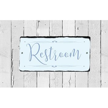 Handmade Slate Bathroom Sign - Restroom Plaque