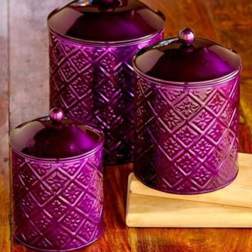 Canister Set Embossed Metal Fresh Seal Purple 3 Piece Coffee Tea Sugar Flour NEW