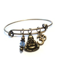 Namaste Bangle Bracelet Yoga Charm Jewellery Buddha Meditation Buddhism Light Blue Om Ohm Charm Adjustable Christmas Stocking Stuffer