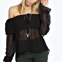 Beau Frill Neck & Cuff Off The Shoulder Blouse