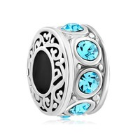 New Jewelry Filigree Aquamarine Blue Crystal Birthstone Spacer Beads Fit Pandora Charms Bracelet