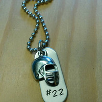 Hand Stamped Necklace Personalized Football Necklace Kids Football Team Gift