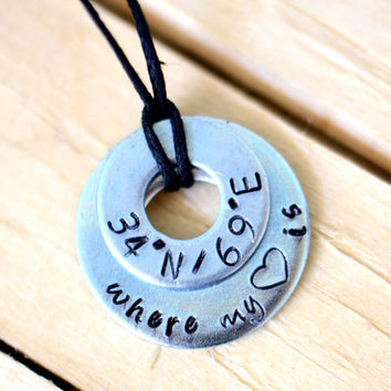 Where My Heart Is - Metal Stamped Latitude / Longitude Necklace - Military / Long Distance Relationship