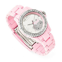 Hello Kitty® Silver-Tone Dial, Crystal Bezel, Pink Acrylic Watch