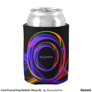 Cool Fractal Psychedelic Neon Glow Abstract Ball Can Cooler