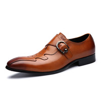 Pointed Toe Men Oxfords Breathable Genuine Leather Men Dress Shoes Formal Black Brown