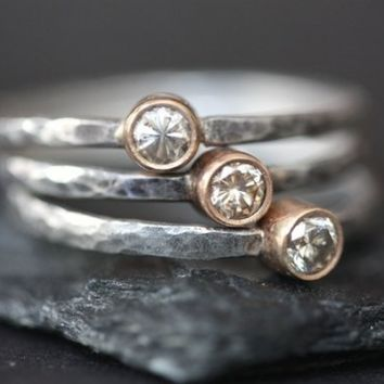Champagne Diamond Stacking Rings- engagement ring- wedding ring- bridal jewelry- gold, silver- mixed metal- bezel- hammered- simple