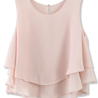 Layered Chiffon Crop Top in Pastel Pink Pink S/M