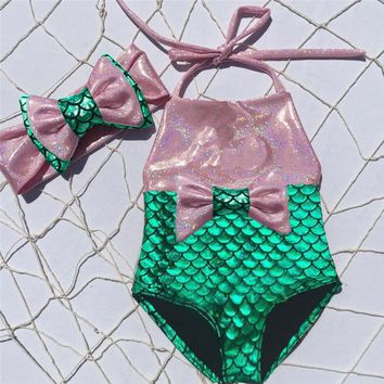 Toddler Kids Baby Girls Mermaid Swimsuit Costume Swimwear Beach Bikini Set Bow 2pcs 0-3Y 2017 NEW