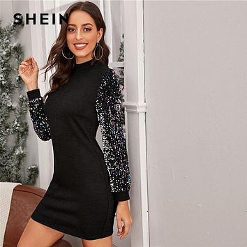 Black Mock-neck Sequin Sleeve Bodycon Dress Women Spring Glamorous Stand Collar Slim Fit Pencil Short Dresses