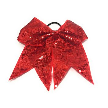 "7"" Sequin Cheer Bows, Girls Sequin Bow Pony"