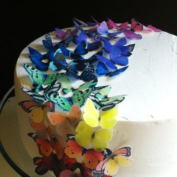 EDIBLE Butterflies The Original - Rainbow Collection 50 small - Cake & Cupcake toppers - PRECUT and Ready to Use